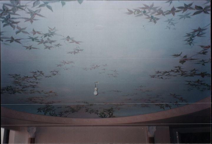 Detail of ladies painted ceiling