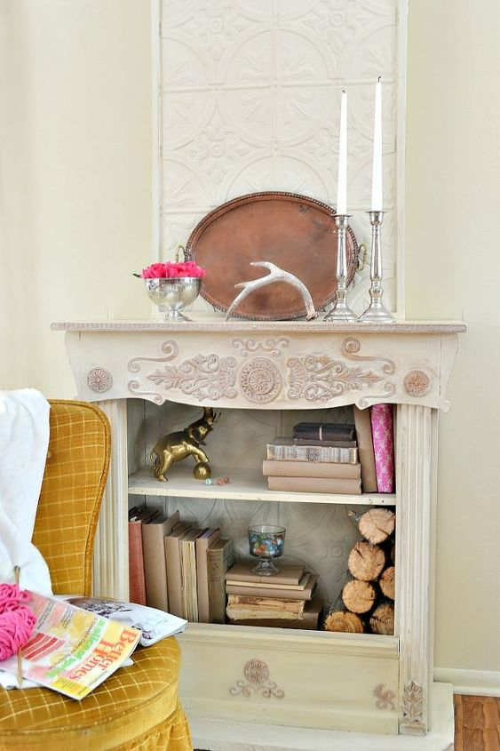 a old bookcase is updated to look like a fireplace, home decor
