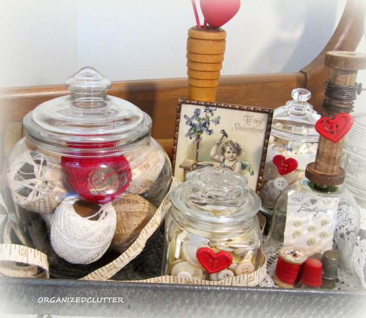 Adding a little red, and a vintage Valentine postcard, I have a Valentine's Day sewing vignette.   http://organizedclutterqueen.blogspot.com/2013/02/one-vignette-two-ways.html