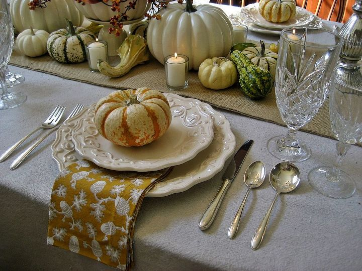 thanksgiving tablescape burlap and white pumpkins, home decor, seasonal holiday decor, thanksgiving decorations, Simple tiger pumpkins top each plate