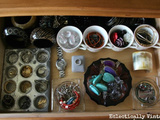 mission organization jewelry drawer with vintage storage, organizing, Forget plastic dividers from vintage teacups ashtrays and muffin tins my storage is as pretty as my jewelry See more at