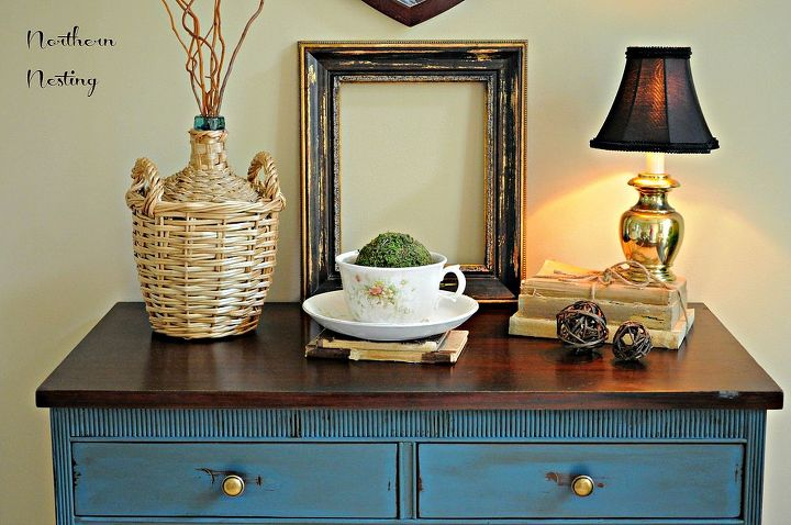 a new vignette adding a vintage demijohn, home decor