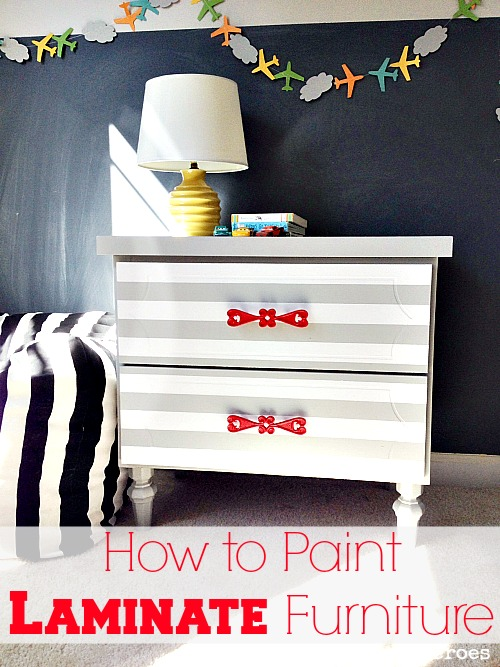 Painting Laminate furniture is easier than you may think. Just give it a light sanding and use a good primer on it.