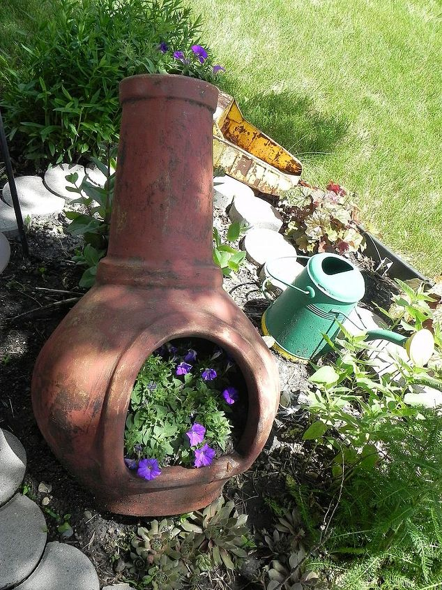 a rescued chiminea as a planter