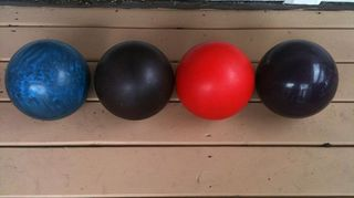 q garden ideas for bowling balls, gardening, repurposing upcycling, These are just a couple of all the bowling balls from Mom Dad They really loved bowling