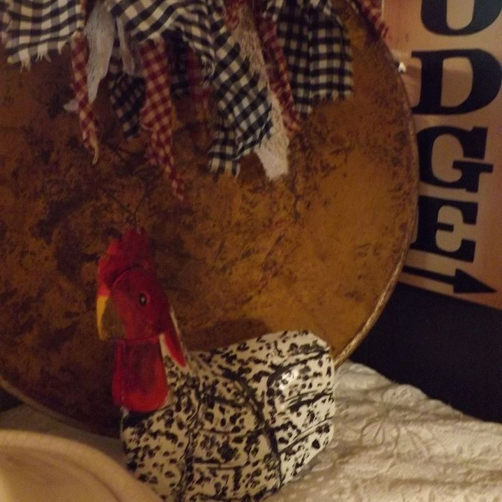decorating with antiques, home decor, repurposing upcycling, I decorated with a rag garland the rooster sits front and center