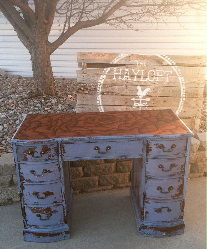 rose stained desk hand painted with milk paint, painted furniture