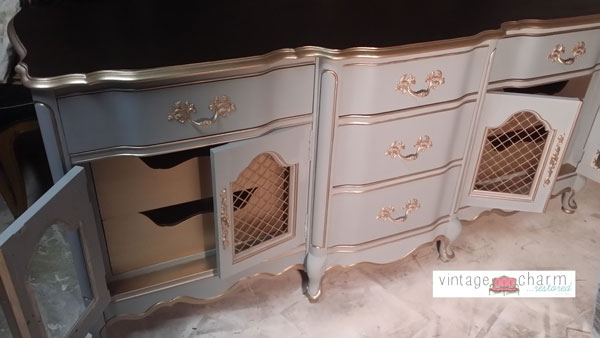 french dresser makeover part 2 benjamin moore nimbus gray, painted furniture