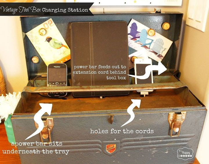 vintage tool box charging station, cleaning tips, repurposing upcycling
