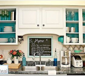 Open Kitchen Cabinets With Aqua White Lime Green And Silver Accents, Home  Decor, Kitchen