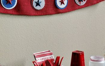 DIY Patriotic Glitter Paper & Burlap Garland for Mantle or Picnic
