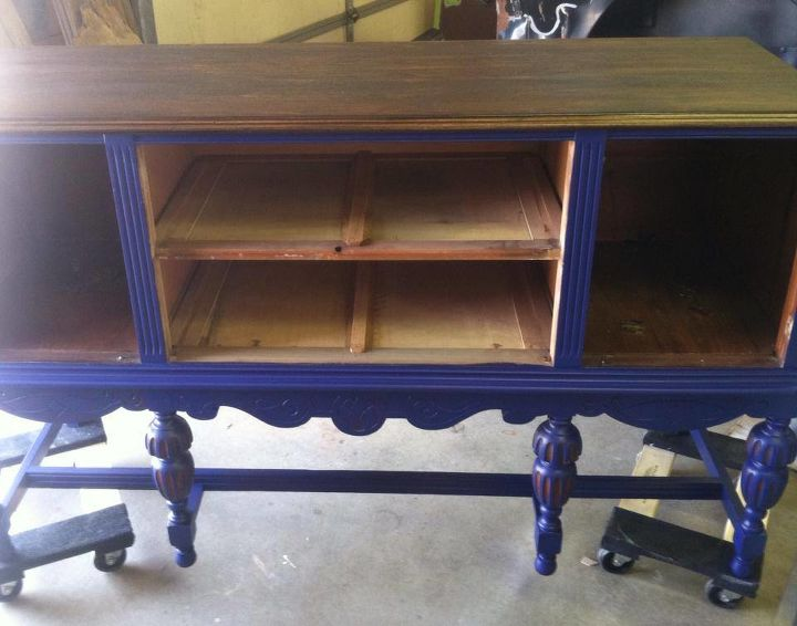 hand painted blue buffet, painted furniture