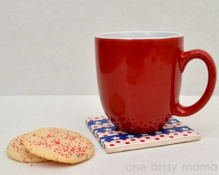 patriotic washi tape coasters, crafts