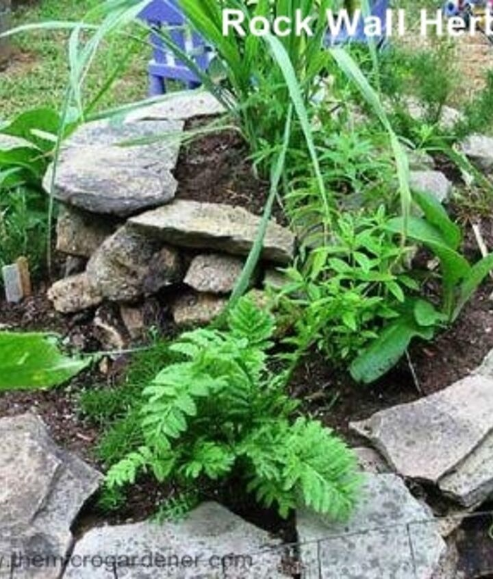 Rock wall herb spiral. Perfect design for adding a tall 'thriller' at the top, 'fillers' in the middle and 'spillers' over the edges and in cracks up the walls.