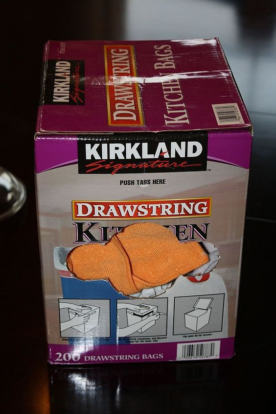 easy recycled storage for your rag stash, cleaning tips, repurposing upcycling, You ll need at least one box with a good size opening in it I had a Costco garbage bag box that worked perfectly If you don t have a box with an opening carefully use a craft or utility knife to cut a hole