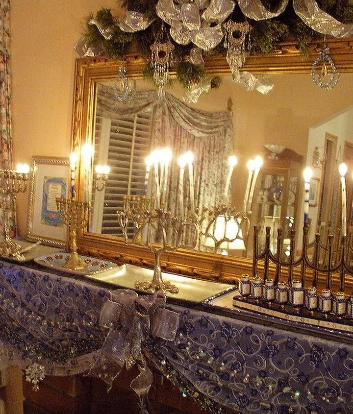 In the living room everyone lights their own menorah.  The mirror doubles the joy.  Having the candles on the mantel means they can be seen through the front windows, fulfilling the tradition to display the light  to the world.