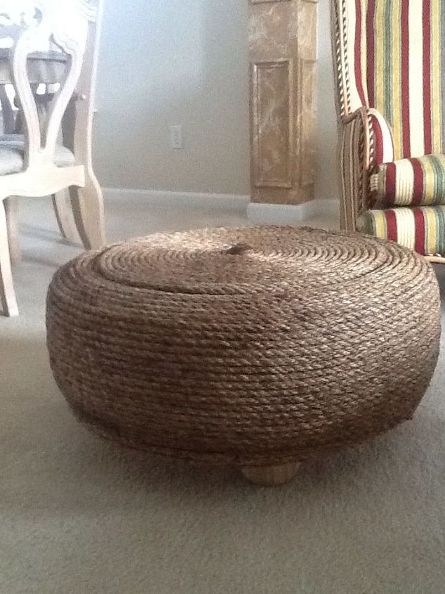 diy ottoman manila rope upcycle tire, painted furniture, repurposing  upcycling, woodworking projects,