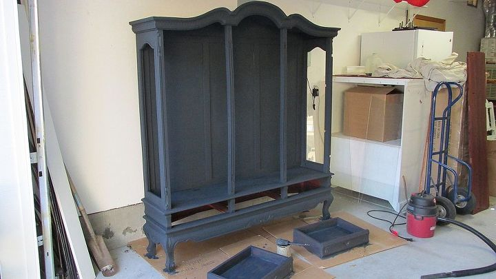 IN PROGRESS: Took 3 coats of Maison Blanche Wrought Iron Vintage Furniture Paint. Topped with 2 coats of Maison Blanche Clear Wax. Whew got my work out on with the wax!