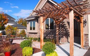 custom cedar arbor enhances homes front entrance and paver patio provides sitting and, curb appeal, outdoor living, patio, A beautiful space is created at the homes entrance The space is a transition zone that leads to the front yard patio or front door