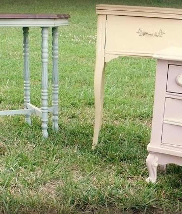 Trio of pastel tables, including a sewing table painted pale yellow and a French provincial nightstand.