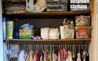 organize kids closets once and for all, closet, organizing, A few tips have an outgrown clothing bin keep instruction manuals for toys and baby items together in a bin to easily locate them plastic bags come in handy for diaper pails so keep them together on a top shelf