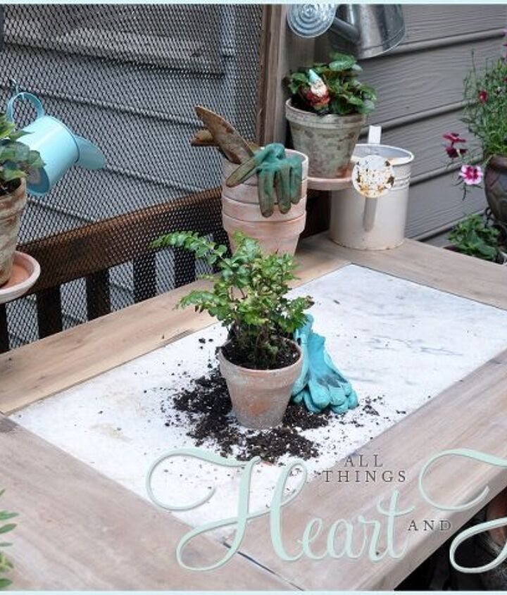 But building a little table around the marble top gave the potting bench just the right amount of room!