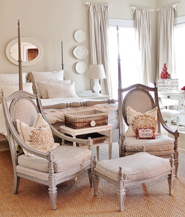 red and white christmas farmhouse, bedroom ideas, seasonal holiday decor