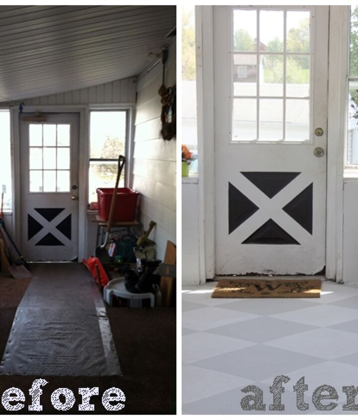 This is the first time we saw the house, and the after with the painted floor.  We have since replaced the door.