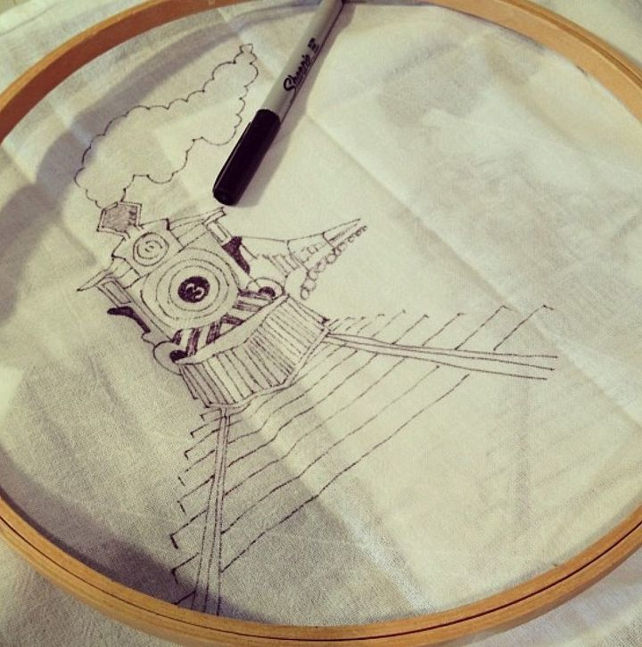 Tracing your favorite images onto tea towels - could this be any easier?