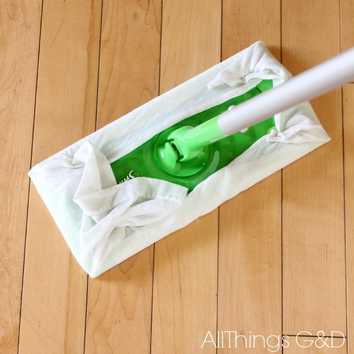 reusable swiffer wet wipes made from old t shirts, cleaning tips, go green, repurposing upcycling