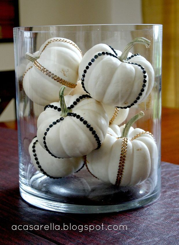 add a little bling to your fall decorating, crafts, seasonal holiday decor, Jeweled stickers add a little pizzazz to plain white pumpkins