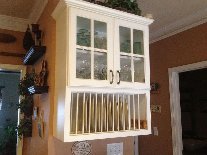 """""""Before"""" of white dish rack & glass cabinet"""