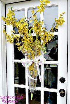 think outside the wreath how about a flower filled umbrella door, doors, flowers, home decor, repurposing upcycling, wreaths, Flower Filled Umbrella wreath