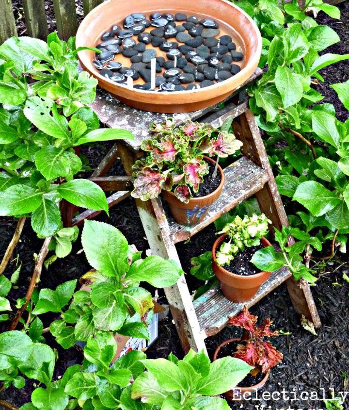 Stepladder Birdbath  http://eclecticallyvintage.com/2012/05/stepladder-birdbath-unusual-ladder/