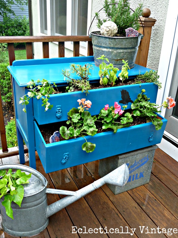 q turn old dresser into an outdoor planter, gardening, repurposing upcycling, Old dresser turned outdoor planter See how here