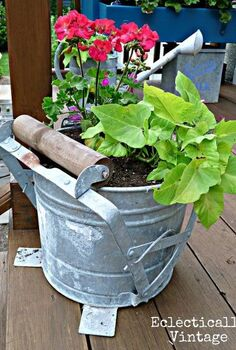 finally a good use for an old mop bucket anyone have other creative planter ideas, decks, gardening, Vintage mop bucket planter Click link for more pics