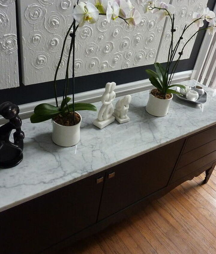 After- marble- less than $500 to make a piece of Ikea furniture look like thousands of dollars