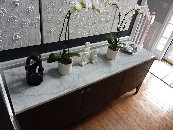 q turned an inexpensive ikea piece of furniture into fab should i add hardward to the, painted furniture, AFTER marble and voila looks like a custom piece of furniture Added hardware to it also since it came without the hardware should I add hardward to the drawers they are push action or leave it be