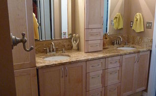 master bathroom makeover on a budget, bathroom ideas, home decor, AFTER GRANITE and new side cabinet for more storage Picked a remnant that would be long enough to do the counter top with no seams
