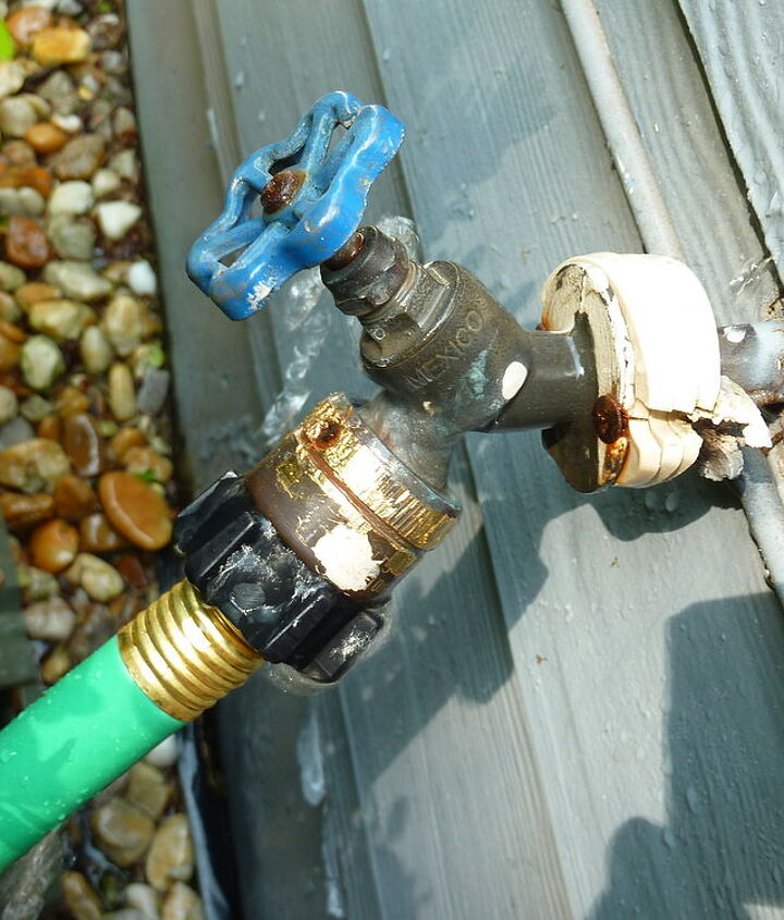 It is spraying NOT from the hose connection but from the top of the piece above the hose connection