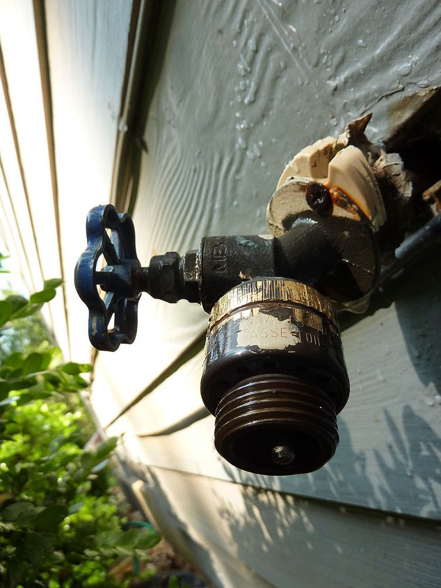 q help we have an outdoor water faucet that is leaking terribly we tried getting a, plumbing