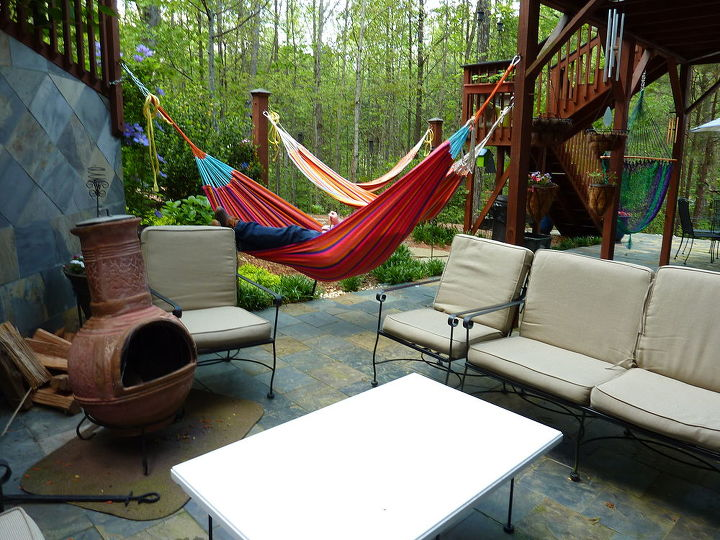 Mexican Chimenea and Hammocks, perfect weather for both!