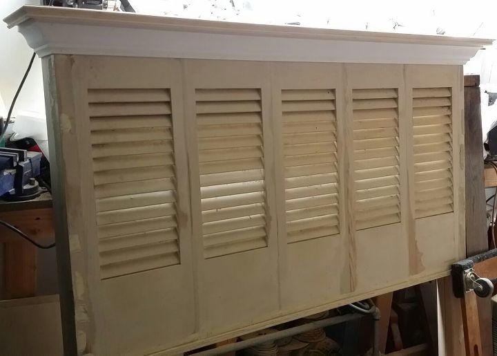 queen size shutter headboard, repurposing upcycling