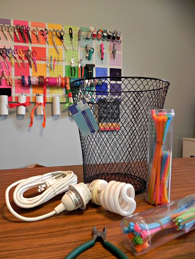 The materials for the lamp.  http://www.madincrafts.com/2012/10/ombre-neon-zip-tie-pendant-lamp.html