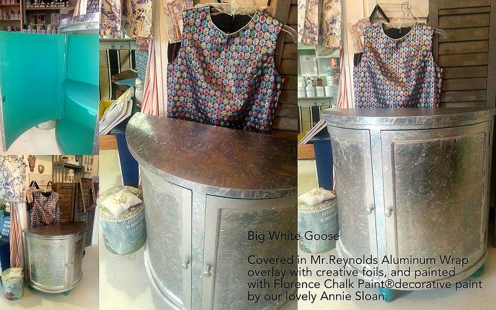 how to cover furniture with mr reynolds aluminum wrap, chalk paint, painted furniture
