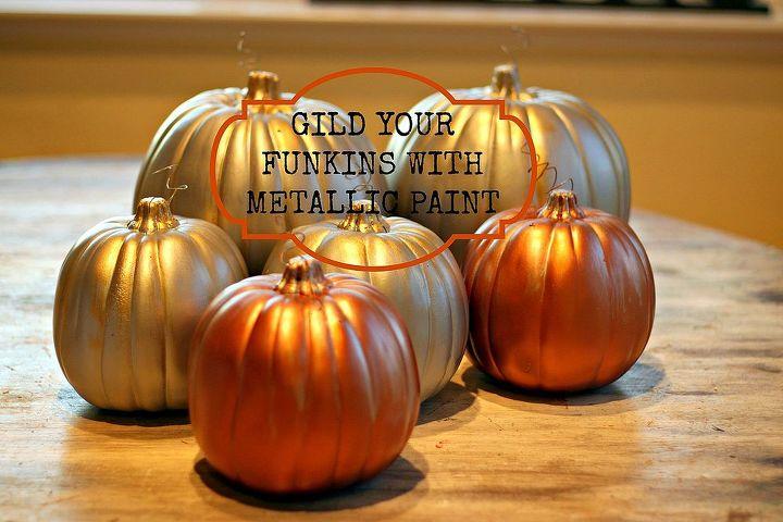 metallic faux pumpkins, crafts, painting, Layered Martha Stewart Metallic Paints make a gorgeous Gilded look on Faux Pumpkins