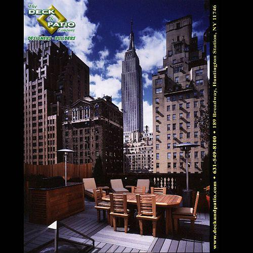 Trex Deck on New York City rooftop with view of the Empire State Building.