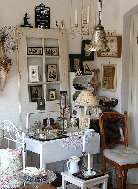 Shabby chick décor with an old white door as a focal point