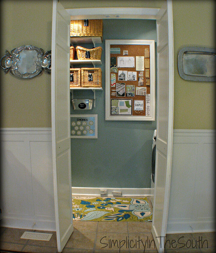 A bulletin board covers the fuse box. The bifold door was made into french doors.