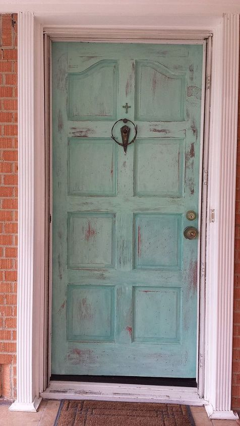 painted patina front door with annie sloan chalk paint hometalk